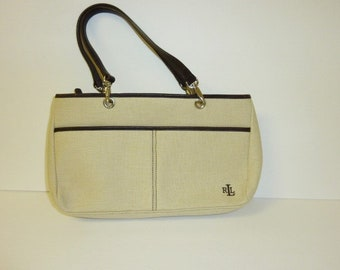 9bb5bd9d21 Vintage RALPH LAUREN Purse Canvas Handbag Beige Chocolate Brown Double  Handle Genuine Designer Bag