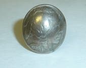 Vintage Indian Head Nickle Ring 1936 Coin Silver Tone Hand Crafted Native American Themed Collectible Ladies Size 5 Adjustable