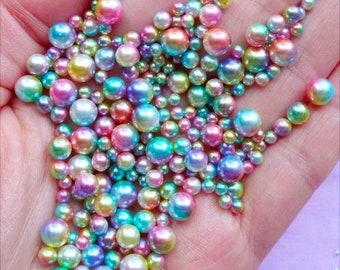 20g Mixed 3,4,5,6mm Caviar Pearl Beads No Hole Rainbow Mermaid Ocean Bubbles