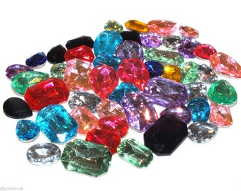 CandyCabsUK 100 Multi faceted Crystal Bling 3D NOT FlatBack Gems Rhinestones MIX