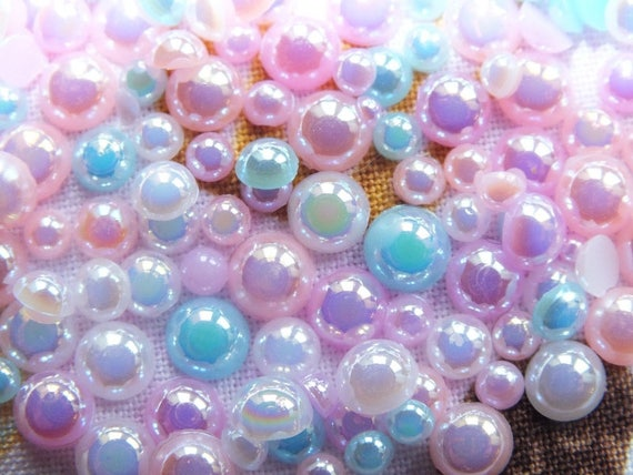 CandyCabsUK 50g Mixed Flatback Faux Half Pearls Cabochons DIY BULK BUY Baby Blue