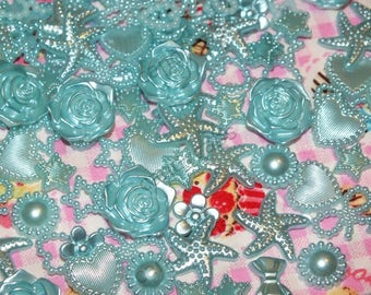 Baby Blue DIY 20g 100pcs Mixed Pearl Shapes Embellishments Flatback Decoden Kit