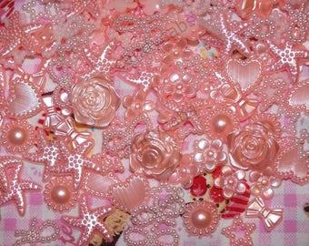 Baby Pink DIY 20g 100pcs Mixed Pearl Shapes Embellishments Flatback Decoden Kit