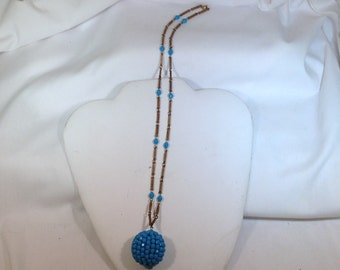 60's Funky  Blue Necklace