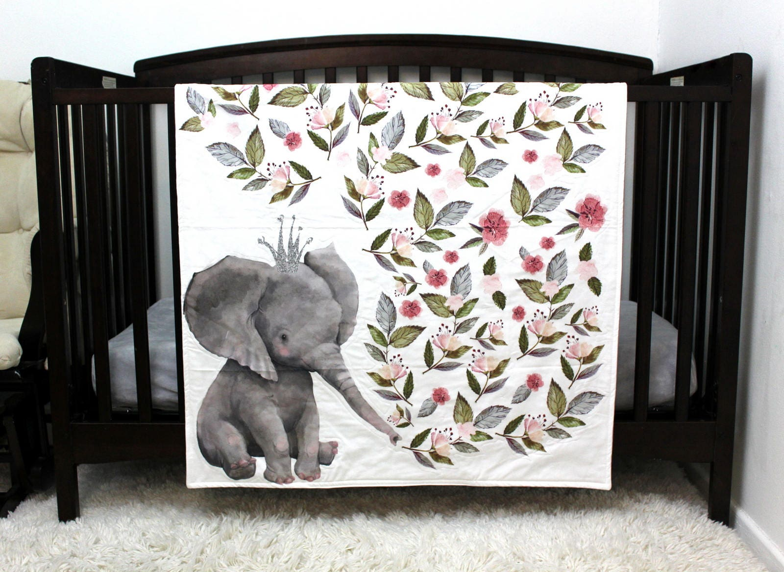 Elephant Baby Bedding Girl Crib Quilt Elephant Baby Quilt