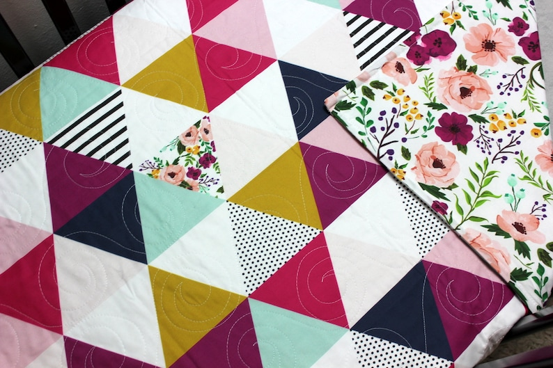 Triangle Baby Bedding Modern Mustard Pink Gold Baby Quilt Floral Girl Crib Quilt