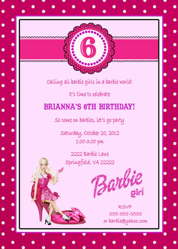 items similar to 5x7 barbie milestone invitation  3