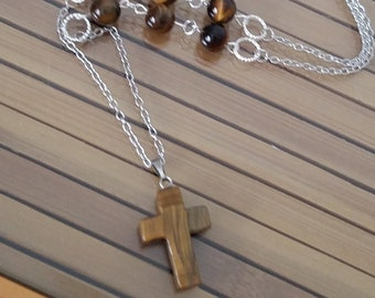 Tigers Eye Necklace, Crystal Cross Necklace, Men's Stone Cross Necklace, Religious Cross Necklace, Men's Stone Cross Protection Necklace