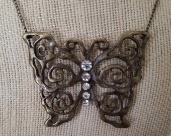 Antique Bronze Butterfly Necklace, Reiki Charged Brass Butterfly Necklace, Brass Pendant Butterfly Jewelry, Spirit Animal Butterfly Pendant