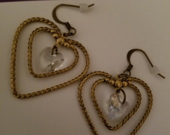 Antique Bronze Heart Shaped Earrings, Heart Hoop Earrings, Mom Gift Jewelry, Boho Costume Fashion Jewelry