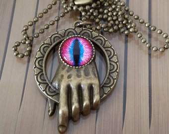Game of Thrones Hand Pendant Necklace, Pink Blue EYE Talisman Pendant Necklace,Steampunk Gothic EyeBall Jewelry,Boho Costume Fashion Jewelry
