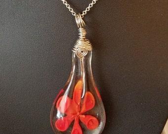 ORANGE BLOWN GLASS Floral Pendant Necklace, Orange Flower Glass Wire Wrapped Jewelry, Boho Costume Fashion Jewelry, Wiccan Pagan Jewelry