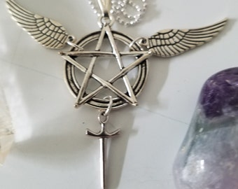 Castiel Supernatural Angel Necklace, Silver Angel Pendant Necklace, Sam And Dean Winchesters Jewelry, Silver Gothic Witch Necklace