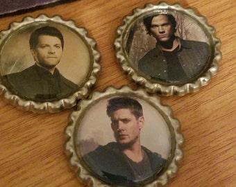 Supernatural Bottle Cap Magnets, Supernatural Photo Magnet, Dean Winchester Fridge Magnet, Sam Winchester Supernatural Magnet, Bottle Caps