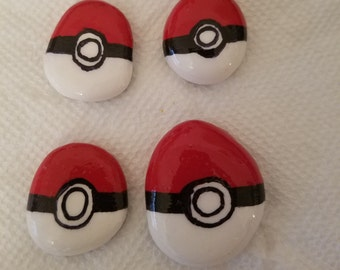 DOOFY'S!!!  Pokeball Garden River Rocks and Paper Weights, Decorations