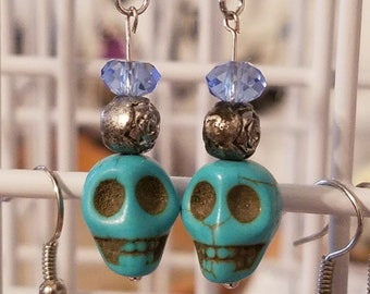 BLUE SKULL HEAD Earrings, Blue Stone Skull Jewelry, Boho Costume Fashion Jewelry