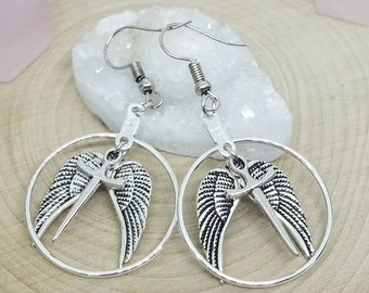 Supernatural Castiel Angel Earrings, Silver Winged Hoop Earrings, Boho Costume Fashion Jewelry