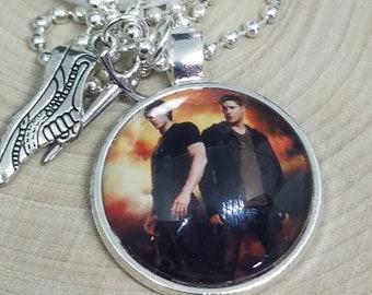 Supernatural Pendant Necklace, Supernatural Photo Necklace,Dean Winchester Supernatural Pendant,Sam Winchester Photo Jewelry,Wiccan Necklace