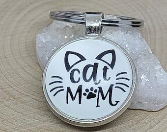 Cat Mom Keychain, Cat Car Accessories, Cat Keychain, Cat Photo Keychain, Cat Keychains, Cat Mom Keyring, Cat Lover Gift