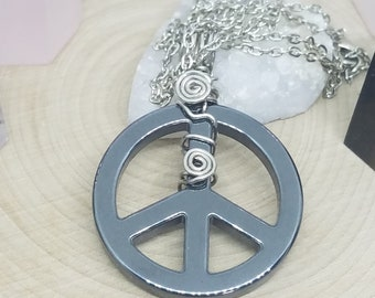 Hematite Peace Sign Necklace, Peace Hematite Pendant, Hematite Crystal Peace Pendant, Hematite Crystal Protection Charm, Hematite Peace Sign