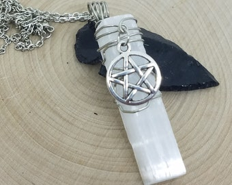 Selenite Crystal Necklace,White Witch Wicca Necklace,Raw Crystal Protection Necklace,Crystal Talisman Pagan Necklace