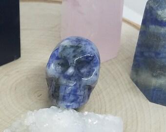 Lapis Lazuli Crystal Skulls,Crystal Skull Decor,Lapiz Lazuli Stone Skulls,Goth Home Decor,Sugar Skull Wiccan Decor,Throat Chakra Skull Decor