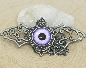 Cats Eye Bat Necklace, Evil Eye Pendant Necklace, Evil Eye Necklace, Dragon Eye Bat Jewelry, Evil Eye Pagan Necklace, Evil Eye Bat Necklace