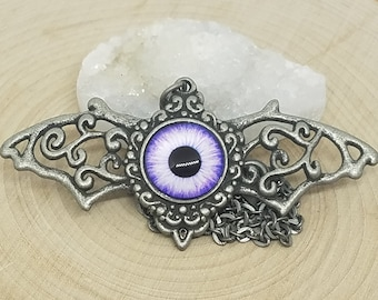 Evil Eye Necklace, Evil Eye Bat Necklace, Evil Eye Bat Pendant, Evil Eye Jewelry, Evil Eye Pagan Necklace, Bat Pendant Wiccan Necklace