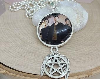 Supernatural Pendant Necklace, Supernatural Photo Necklace, Supernatural Gift, Dean Protection Amulet, Sam Winchester Supernatural Jewelry