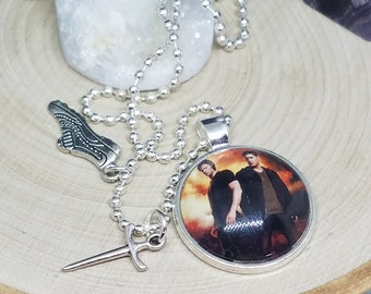 Dean Winchester Photo Necklace, Sam Winchester Photo Pendant, Supernatural Gift, Photo Charm Necklace, Winchester Supernatural Gift