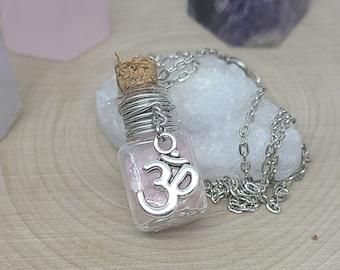 Rose Quartz OM Necklace, Rose Quartz Bottle Necklace,Rose Quartz Pendant,Rose Quartz Empath Jewelry,Raw Rose Quartz,Weird Stuff Witchy Gifts