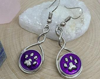 Purple Paw Print Earrings, Cat Paw Earrings, Dog Paw Earrings, Purple Paw Earrings