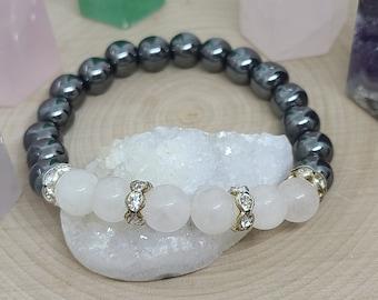 Quartz Crystal Bracelet, Quartz Hematite Bracelet, Quartz Gemstone Bracelet, Clear Quartz Energy Bracelet, Quartz Crystal Jewelry