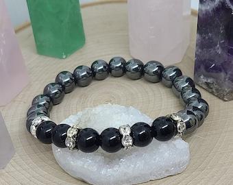 Jasper Hematite Bracelet, Jasper Crystal Bracelet, Jasper Gemstone Bracelet, Hematite Energy Bracelet,Jasper Gothic Bracelet,Chakra Bracelet