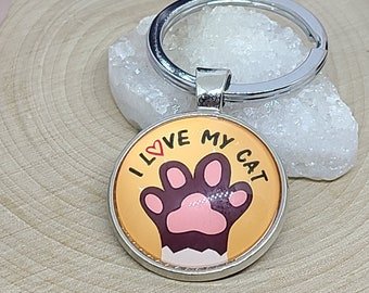 I love my cat keychain, Cat Key Chains, Cat Mom Gift, Cat Lover Gift, Car Accessories, Cat Keychain, Photo Keychain