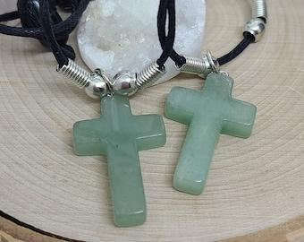 Green Aventurine Cross Necklace, Aventurine Crystal Cross, Stone Cross Crystal Choker, Aventurine Cross Pendant, Green Aventurine Cross