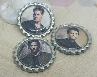 Supernatural Magnet Set,Supernatural Bottle Cap Magnets,Supernatural Photo Magnets,Supernatural Fridge Magnet,Sam Winchester,Dean Winchester