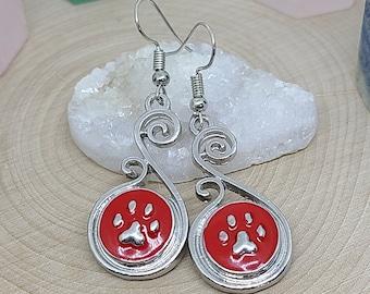 Red Paw Earrings, Cat Paw Earrings, Dog Paw Earrings, Paw Print Jewelry, Paw Print Earrings, Paw Earrings, Snap Earrings