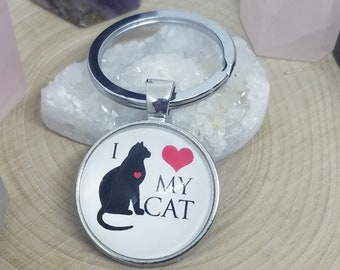 Cat Keychain, Cat Lover Gift, Car Accessories, Key Chains, Cat Mom Gift, Photo Keychain, Key Chains For Women