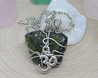 Moldevite Crystal Necklace,Moldavite Pendant Necklace,Moldavite OM Necklace,Raw Moldavite Protection Amulet