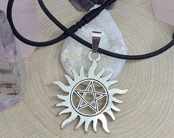 Dean Winchester Choker Necklace, Supernatural Pentacle Necklace, Supernatural Pagan Necklace, Supernatural Protection Amulet,Choker Necklace