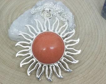 Red Aventurine Sun Necklace, Aventurine Sun Pendant, Sterling Silver Sun Necklace, Red Aventurine Stone Necklace, Red Aventurine Jewelry