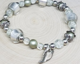 SILVER Charm BEADED Glass Victorian STRETCH Bracelet, Boho Costume Fashion Jewelry, Wiccan Pagan Crystal Jewelry