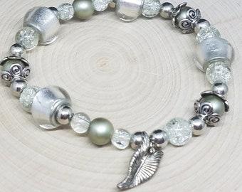 SILVER Charm BEADED Glass Victorian STRETCH Bracelet, Boho Costume Fashion Jewelry, Wiccan Pagan Crystal Jewelry