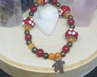 Red Leaf Bracelet, Red Nature Bracelet, Bracelets For Women, Red Wiccan Jewelry, Red Beaded Bracelet,Red Charm Bracelet,Red Stretch Bracelet