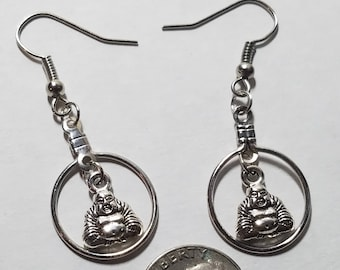 Silver Buddha Hoop Earrings, Silvertone Hoop Jewelry, Boho Costume Fashion Jewelry