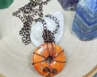 Ocean Jasper Crystal Healing Orange Necklace, Jasper Crystal Healing Gemstone Necklace, Jasper Crystal Stone Necklace, Ocean Jasper Crystal
