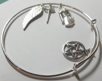 Supernatural Castiel Angel Bracelet, Bangle Charm Wiccan Jewelry, Supernatural Pagan Bracelet, Silver Angel Charms Supernatural Jewelry