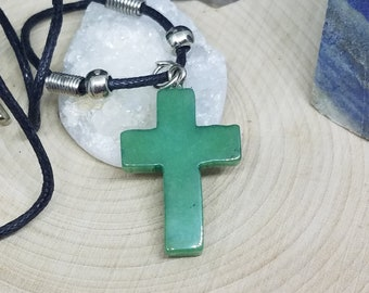 Crystal Cross Necklace, Green Aventurine Stone Cross, Mens Cross Necklace, Aventurine Crystal Cross Necklace