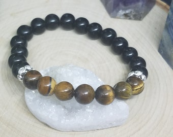 Tigers Eye Bracelet, Black Jasper Stretch Bracelet, Reiki Healing Energy Bracelet, Root Chakra Beaded Jewelry, Chakra Energy Bracelet